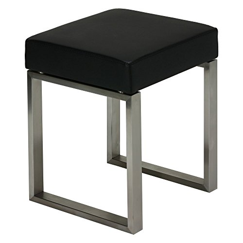 Cortesi Home Tilio Stainless Steel Stool in Black Leather Like Vinyl and Brushed - Bench Vinyl Like Black Leather