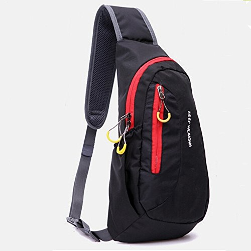 Portable Multi Functional Waterproof Unisex Outdoor Sports Chest Bag Chest Diagonal Package Messenger Shoulder Bag Casual Running Back Pack Crossbody  Black