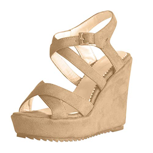 Cross Strap Sandals,LYN Star❤ღ♕Women Platform Sandals Espadrille Ankle Strap Flat Sandals Formentera Cross Straps Shoes Brown