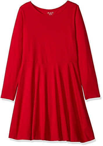 The Children's Place Big Girls' Heart Cut Out Back Dress 1, Ruby 90839, M (7/8) for $<!--$11.20-->