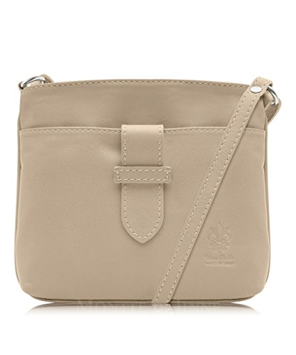 Strap Soft Genuine Italian Leather, Small Fronted Cross Body Shoulder Bag Or Hand Bag Beige