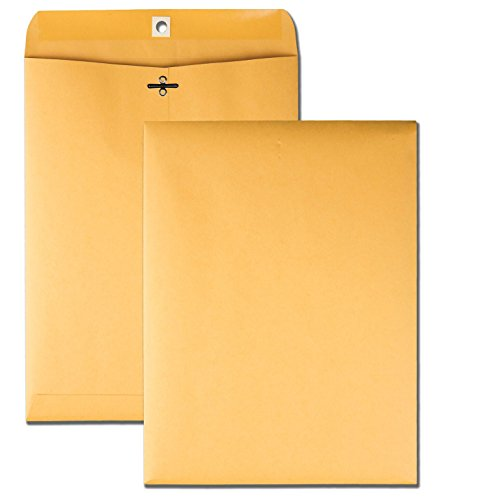 Quality Park 9 x 12 Clasp Envelopes with Deeply Gummed Flaps, Great for Filing, Storing or Mailing Documents, 28 lb Brown Kraft, 100 per Box (37890) ()