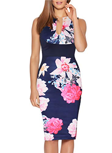 - Fantaist Women's Sleeveless Pretty Floral Midi Slim Wiggle Bodycon Pencil Dress (L, FT601-Navy)