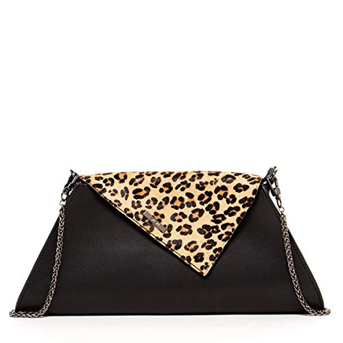 Leopard Clutch Black Evening Purses For Women Animal Print Clutches Purse Leather Crossbody Bags Designer Handbags Zipper Closure Cute Party Crossover Bag with Flap and Long Over The Shoulder - Animal Combo Print