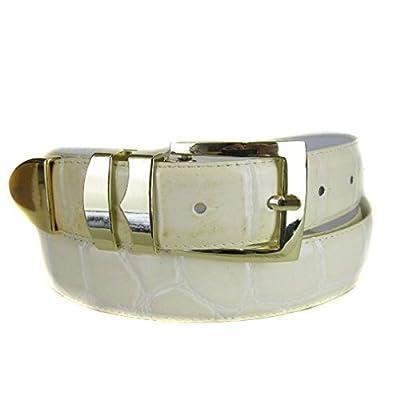 BLTBY-ALGG-16 - Cream - Boys Alligator Skin Bonded Leather Belt