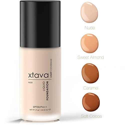 xtava Sheer Matte Liquid Foundation with SPF 30 - Natural, Luminous, Professional Quality Formula with Buildable Coverage - Cruelty Free Makeup - Crafted in Korea (Nude)