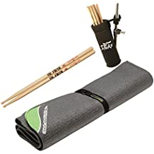 On Stage DMA6450 DrumFire Non Slip Drum Mat with Bag - 6 x 4 feet + Clamp-On Drum Stick Holder DA100 + Vic Firth American Classic 5A Drum Sticks Pair of 2