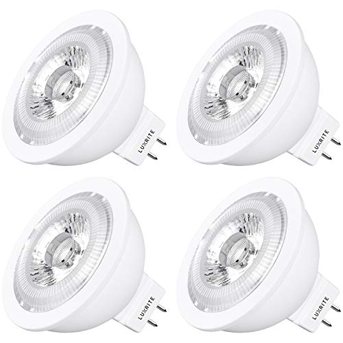 Luxrite MR16 LED Bulb GU5.3, 50W Equivalent, 12V, 5000K Bright White Dimmable, 550 Lumens, 7W LED Spotlight Bulb, 40 Degree, Energy Star & Damp Rated - Home, Landscape, and Track Lighting (4 Pack)