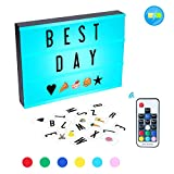 K Kwokker Cinema Light Box, 210 Total Letters, Numbers and Emojis A4 Size 7 Colors Remote-Controlled LED Changing Built-in Battery DIY Lights Box, USB Cable for Wedding, Halloween, Christmas, Dorm Roo