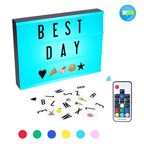 K Kwokker Cinema Light Box, 210 Total Letters, Numbers and Emojis A4 Size 7 Colors Remote-Controlled LED Changing Built-in Battery DIY Lights Box, USB Cable for Wedding, Halloween, Christmas, Dorm Roo -