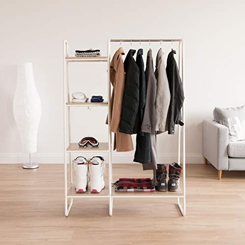 Metal garment rack with shelves