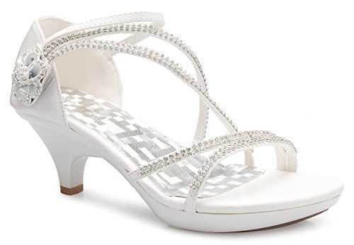OLIVIA K Women's Open Toe Strappy Rhinestone Dress Sandal Low Heel Wedding Shoes White