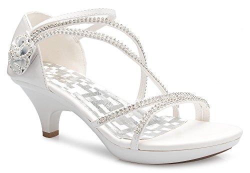 (OLIVIA K Women's Open Toe Strappy Rhinestone Dress Sandal Low Heel Wedding Shoes White)