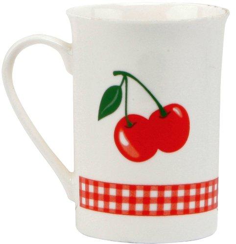 C.R. Gibson Jessie Steele Gift Set with 2 Mugs in Decorative Tin, Kitchen Cherry