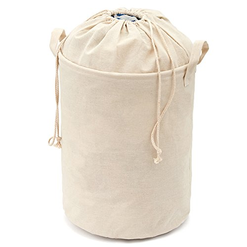 Cotton Hamper (Baby Toys / Laundry Hamper, EZOWare Foldable Lightweight Closet Cotton Linen Storage Basket Bag with Closing Top Perfect for College Dorms, Nursery, Kids Room & Bathroom - Ivory [ 16 x 13 inches ])