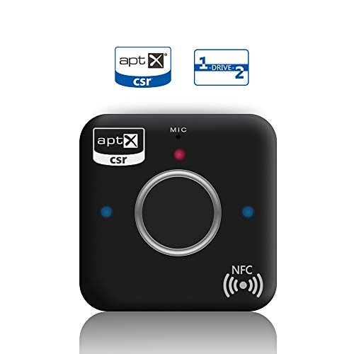 Bluetooth Receiver Adapter for Home Stereo with Bluetooth 4.2, Car Bluetooth Audio Adapter, NFC, One-Drive-Two, AptX-Low Latency, Built in MiC, for Home and Car Music Streaming Sound System