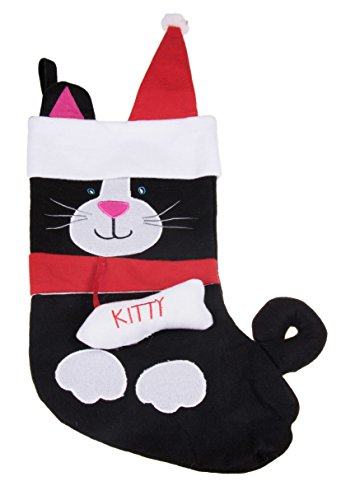 Kitty Cat Soft Plush Cloth Hanging Christmas Stocking | For Kids, Teens, Adults | Black and White Holiday Decor Theme | Perfect for Small Gifts, Stocking Stuffers, & Candy | Measures 17