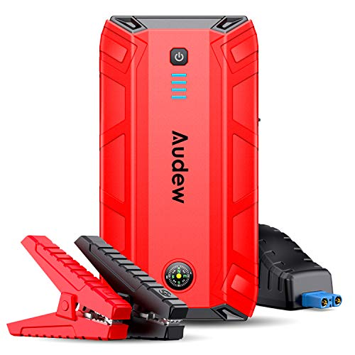 Audew Car Jump Starter,1500A Peak 17000mAh 12V Car Battery Booster (Up to 8L Gas or 6L Diesel Engine),Portable Power Pack with Smart Jumper Cable,Quick Charge 3.0,Type-C,LED Flashlight