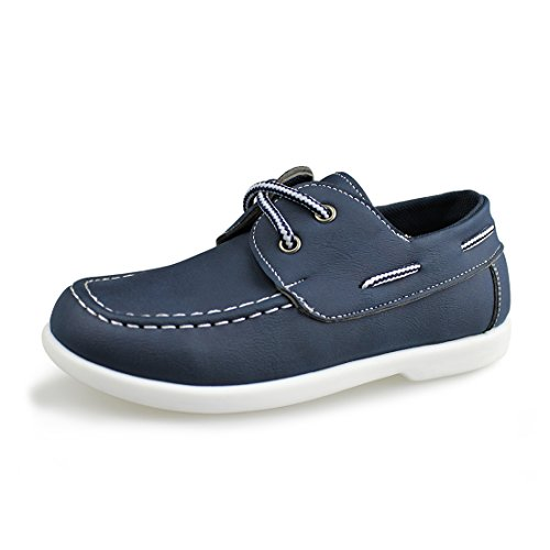 Moccasin Oxford Driver Shoes(Toddler/Little Kid/Big Kid),Navy PU,2 M US (Kids Loafers)