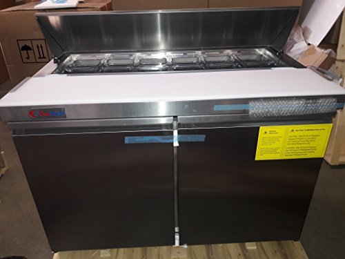 GenKraft Commercial Sandwich Prep Table, 48 inch Stainless Steel, - For use in the Stores & food service industry such as restaurants, bars, food catering, etc. (Stainless Table Refrigerator Steel)