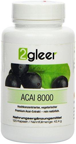 2gleer Acai 8000 MAX - Hochkonzentrierter, vegetarischer Premium Beeren-Extrakt, 120 Kapseln, 1er Pack (1 x 42 g)