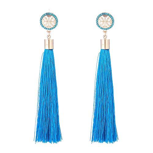 Long Tassel Earrings for Women - Vintage Earrings for Women - Perfect Present for Yourself, Mom, Your Wife, for Birthdays or Anniversary (Blue Tassel Earrings)