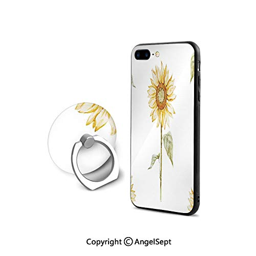 Protective Case Compatible iPhone 7/8 with 360°Degree Swivel Ring,Sunflowers in Watercolor Painting Effect Minimalistic Design Decorative Artwork,Shockproof Protection,Yellow Green