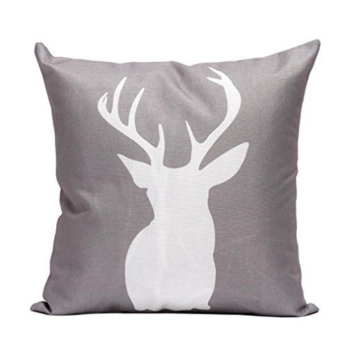 Gotd Antler Pillow Christmas Decorations Deer Horn Pillow Decor Square Linen Blend Pillowcase Christmas Pillow Case Sofa Waist Throw Pillow Cushion Cover Elk Home Decor 45cm 18inch (C) (Deer Decorations)