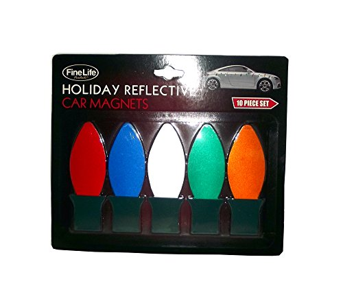 Fine Life Products Christmas Light Holiday Reflective Car Magnets, 10 pieces