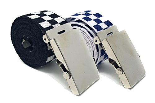 Men's Canvas Belt - Many Colors with Automatic Buckle by Pointed Designs - Pack of 2 … (Black/White, - Blues White And Black Brothers
