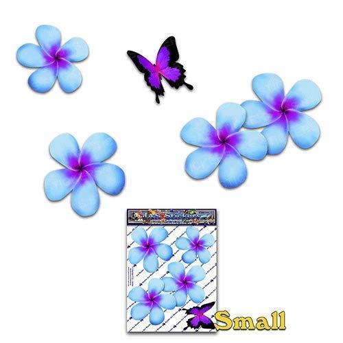 Fleur frangipani plumeria petit bleu double/papillon animal autocollants voiture - ST00024BL_SML - JAS Autocollants