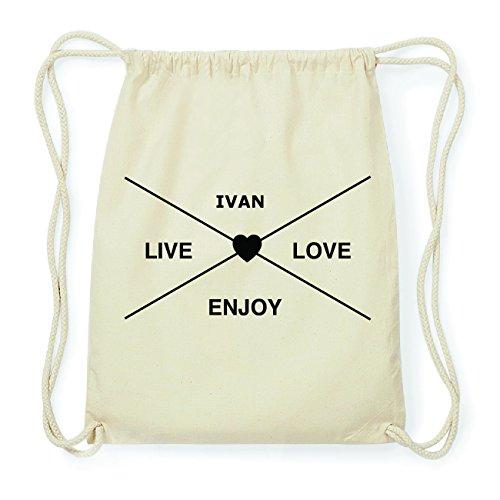 JOllify IVAN Hipster Turnbeutel Tasche Rucksack aus Baumwolle - Farbe: natur Design: Hipster Kreuz
