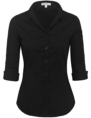 KOGMO Womens Classic Solid 3/4 Sleeve Button Down Blouse Dress Shirt (S-3X)-3X-Black Button Down Tailored Dress Shirt