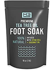 M3 Naturals Tea Tree Oil Foot Soak Infused with Coconut Oil and Stem Cell Epsom Salt Fights Toenail Fungus Athletes Foot Stubborn Foot Odor Scent Fungal Softens Calluses and Soothes Sore Tired Feet