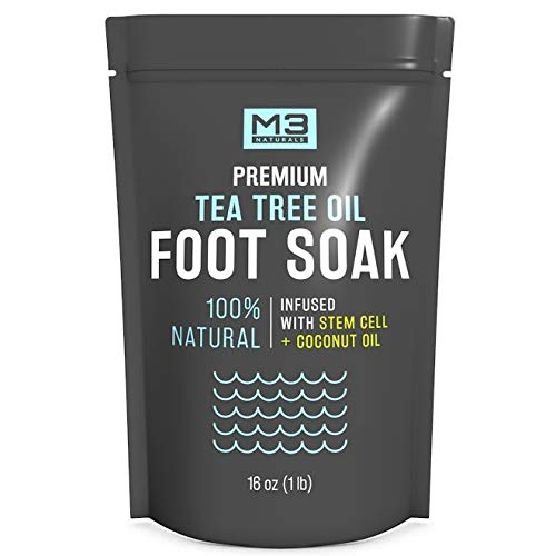 M3 Naturals Tea Tree Oil Foot Soak Infused with Coconut Oil and Stem Cell Epsom Salt Essential Oils for Toenail Fungus Athletes Foot Powder Bath Spa Stubborn Odor Softens Calluses Sore Feet Nails Toes (Best Foot Soak For Nail Fungus)