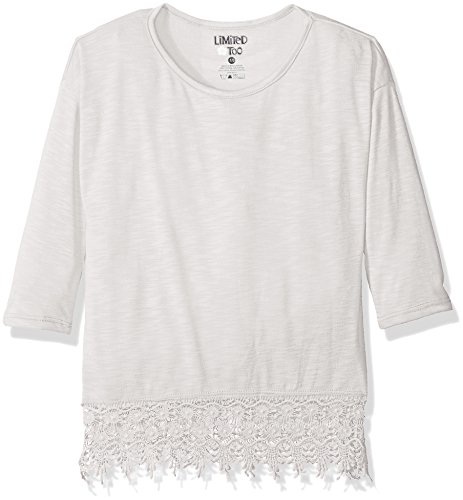 Lace Trim Jersey Top - Limited Too Girls' Big Slub Jersey Top with Lace Trim, 2645 Light Grey, 7/8