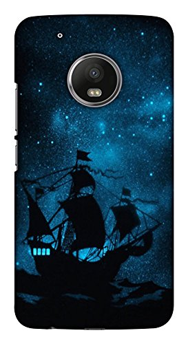 Blutec Ship at Night Design Printed Polycarbonate Back Cover for Motorola Moto G5 Plus  Blue