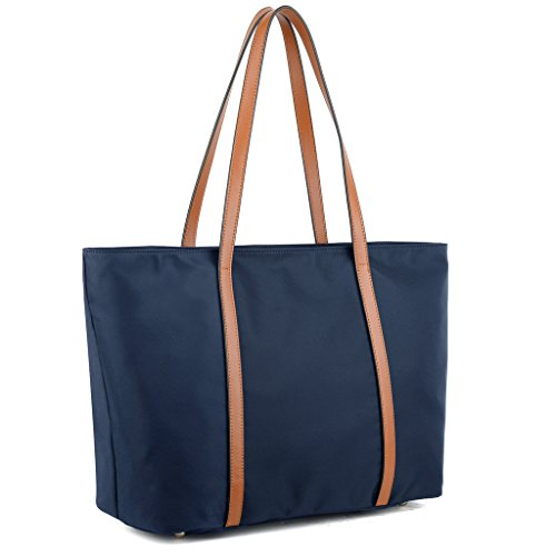 YALUXE Women's Oxford Nylon Large Capacity Work Tote Shoulder Bag Blue by YALUXE