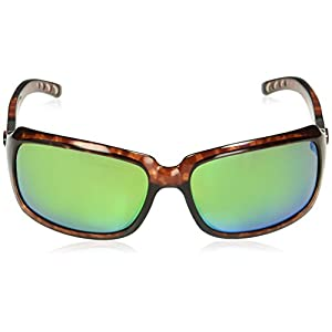 Costa Del Mar Women's Isabela Polarized Rectangular Sunglasses, Tortoise/Copper Green Mirrored Polarized-580P, 64 mm