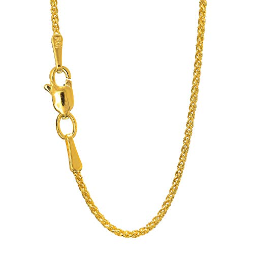 (JewelStop 14k Solid Yellow Gold 1.2mm Round Diamond Cut Spiga Wheat Chain Necklace, Lobster Claw - 16