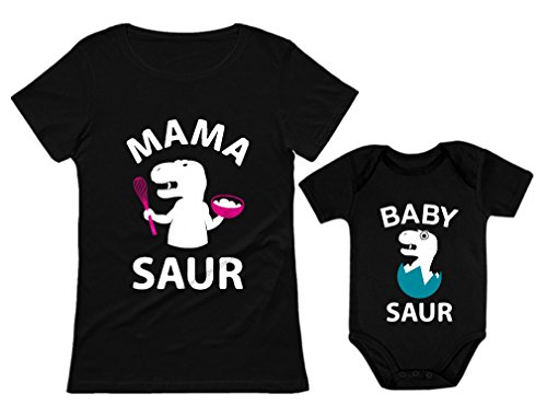 (Tstars Mama Saur - T-Rex Mom & Baby Saur T-Rex Baby Matching Set Mother's Day Gift Mom Black Large/Baby Black 12M)