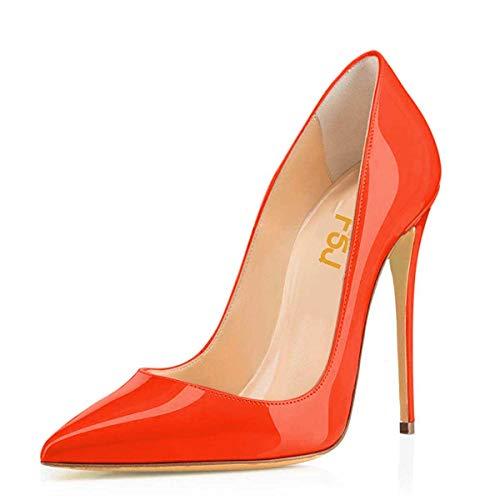 - FSJ Women Formal Pointed Toe Pumps High Heel Stilettos Sexy Slip On Dress Shoes Size 9 Orange