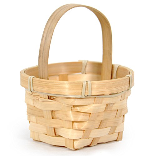 (The Lucky Clover Trading Mini Round Bamboo Handle Basket - 4in)