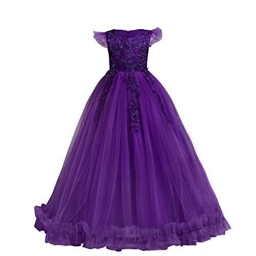 Big Little Girl Princess Embroidery Flower Lace Long A Line Pageant Dress Kids Floor Length Prom First Holy Communion Bowknot Dress Puffy Tulle Maxi Ball Gown for Wedding Party Birthday Purple 3-4