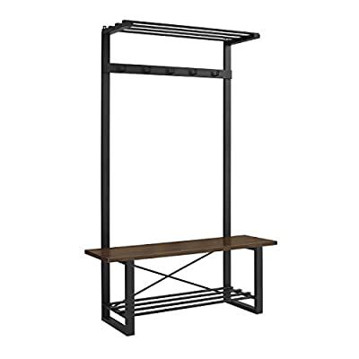 """WE Furniture AZT72URBDW Hall Tree, 72"""", Dark Walnut - Constructed of high-grade MDF and powder-coated metal Modern, rustic Urban design 5 clothing hooks - hall-trees, entryway-furniture-decor, entryway-laundry-room - 41EOwFYsb%2BL. SS400  -"""