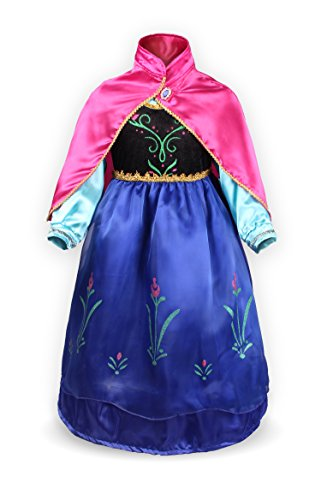 ReliBeauty Little Girls G8180 Retro Princess Anna Fancy Dress Costume, 6X, Blue Baby Doll Turtleneck Dress