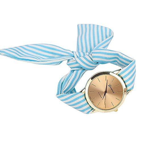 Sunyastor Most Fashion Elegant Women Floral Stripe Cloth Bracelet Mineral Glass Dial Window Quartz Analog Wrist Watch Blue ()