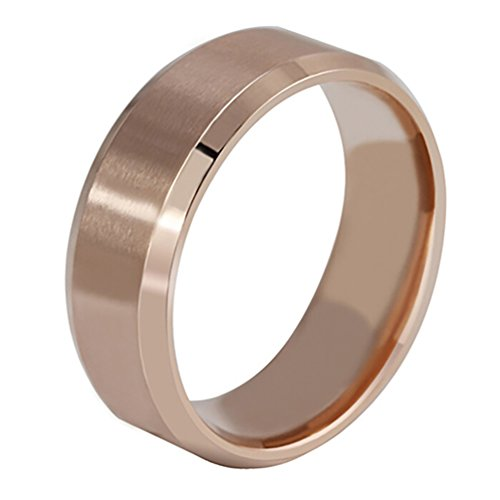 Ameesi 8mm Men's Women's Fashion Titanium Steel Polished Band Ring Wedding Jewelry - Rose Gold US 7 by Ameesi (Image #1)