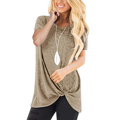 (Onisilk Soft Cotton Tunic Top for Women Round Neck Short Sleeves T Shirt Front Knot Loose Blouse Khaki XXL Plus Size)