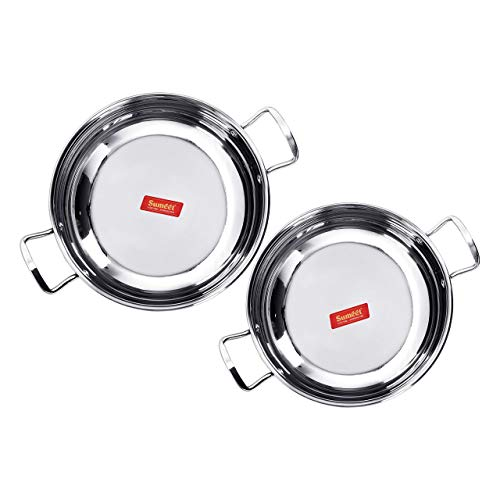Sumeet Stainless Steel Induction Bottom (Encapsulated Bottom) Induction & Gas Stove Friendly Kadhai Set of 2 Size No. 12 (1.9 Ltr) & Size No. 13 (2.3 Ltr) (1.5 Ltr & - Bottom Encapsulated